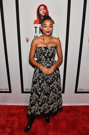 Amandla Stenberg looked lovely in a strapless floral dress by Erdem at the Atlanta screening of 'The Hate U Give.'