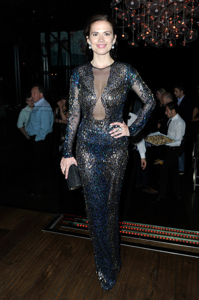 Hayley Atwell Beaded Dress [the worlds end,fashion,fashion model,clothing,dress,haute couture,neck,event,fashion show,gown,see-through clothing,hayley atwell,london,england,empire leicester square,world premiere]
