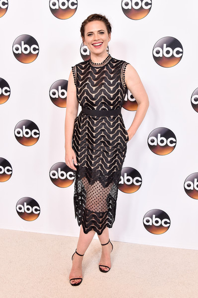 Hayley Atwell Lace Dress [abc television group hosts tca summer press tour,clothing,dress,red carpet,carpet,fashion,pattern,footwear,fashion model,flooring,design,hayley atwell,beverly hills,california,disney,abc television group tca summer press tour]
