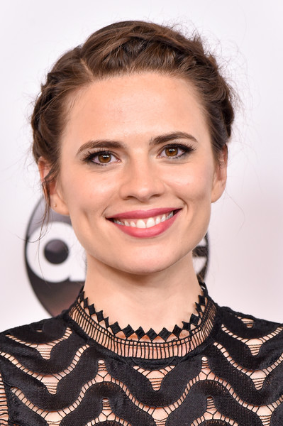 Hayley Atwell Braided Updo [abc television group hosts tca summer press tour,hair,face,hairstyle,eyebrow,chin,lip,beauty,cheek,blond,brown hair,hayley atwell,beverly hills,california,disney,abc television group tca summer press tour]