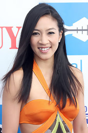 Michelle Kwan arrived at a Heal the Bay fundraiser in Santa Monica wearing her straight hair swept back on one side.