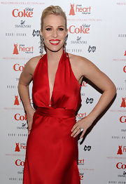 Natasha Bedingfield matched her rich red lipstick to her dress at the Heart's Truth Red Dress Collection.