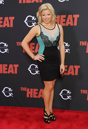 Megan Hilty showed off her hourglass figure in a tricolor lace-panel cocktail dress at the premiere of 'The Heat.'