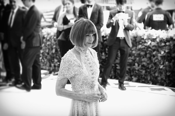 More Pics of Anna Wintour Cutout Dress (2 of 22) - Dresses & Skirts Lookbook - StyleBistro [image,photograph,white,black-and-white,black,people,facial expression,monochrome photography,monochrome,snapshot,standing,anna wintour,metropolitan museum of art,new york city,heavenly bodies: fashion the catholic imagination costume institute gala - arrivals]