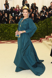 Lynda Carter cut a regal figure in a sculptural teal gown by Zac Posen at the 2018 Met Gala.