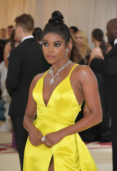 More Pics of Gabrielle Union Evening Dress (6 of 9) - Dresses & Skirts Lookbook - StyleBistro [yellow,fashion,beauty,hairstyle,dress,event,fashion model,formal wear,neck,fashion design,heavenly bodies: fashion the catholic imagination costume institute gala - arrivals,new york city,metropolitan museum of art,gabrielle union]