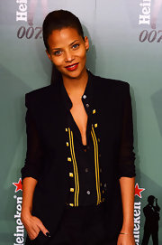 Denise Vasi finished her look by wearing her sleek locks in a ponytail.