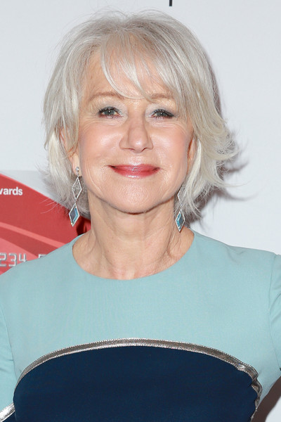 Helen Mirren Dangling Gemstone Earrings [hair,face,blond,human hair color,hairstyle,chin,eyebrow,layered hair,smile,bangs,arrivals,helen mirren,beverly hills,california,beverly wilshire four seasons hotel,aarp,17th annual movies for grownups awards]