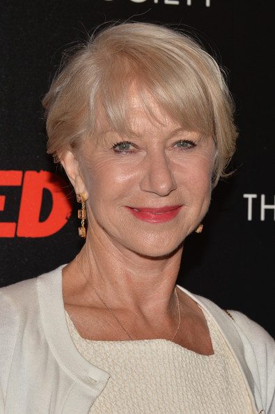 Helen Mirren Short Cut With Bangs [red 2,hair,face,hairstyle,blond,eyebrow,chin,lip,head,forehead,bangs,arrivals,helen mirren,moma,new york city,cinema society and bally host a screening of summit entertainment,the cinema society,bally,screening]