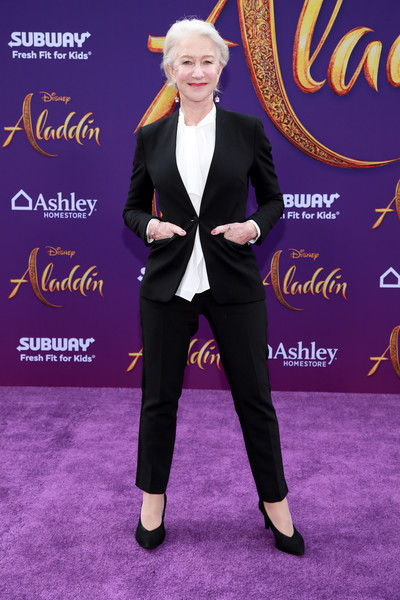 Helen Mirren Pantsuit [aladdin,suit,carpet,fashion,red carpet,formal wear,flooring,footwear,tuxedo,pantsuit,event,arrivals,helen mirren,los angeles,california,disney,premiere,premiere]