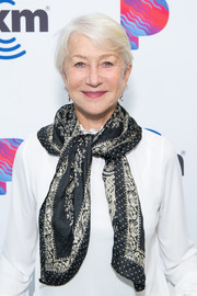 Helen Mirren accessorized her white blouse with a patterned scarf for her visit to the SiriusXM Hollywood Studios.