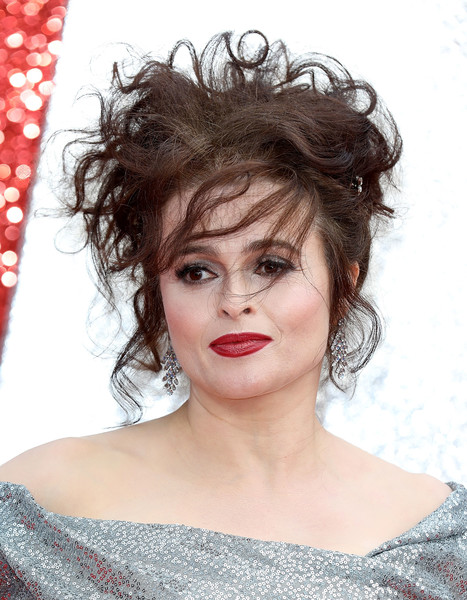 Helena Bonham Carter Messy Updo [hair,human hair color,beauty,hairstyle,eyebrow,lip,black hair,layered hair,hair coloring,brown hair,red carpet arrivals,helena bonham carter,ocean,uk,england,london,cineworld leicester square,premiere,uk premiere]
