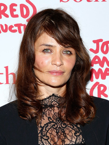 Helena Christensen Medium Wavy Cut with Bangs [red carpet,hair,face,hairstyle,eyebrow,chin,brown hair,lip,long hair,forehead,hair coloring,jony,marc,helena christensen,red,new york city,sothebys,red auction]