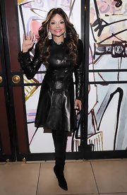 The studded detailing on La Toya Jackson's dramatic all leather look was amazing.