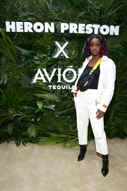 Justine Skye donned a sporty white suit for the Heron Preston + Tequila Avion dance party.