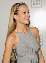 Petra Nemcova looked adorable wearing her hair long and straight with a crown braid during the Herve Leger fashion show.