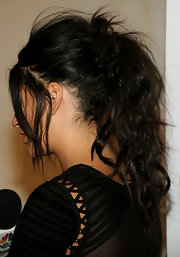 Jessica Szohr showed of an intricate ponytail while hitting the Herve Leger fashion show.