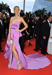Petra Nemcova worked a strapless lavender silk gown by Cristina Ottaviano at the 2019 Cannes Film Festival screening of 'A Hidden Life.'