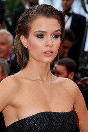 Josephine Skriver styled her hair into a loose ponytail for the 2019 Cannes Film Festival screening of 'A Hidden Life.'