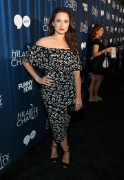 Katie Lowes looked effortlessly chic in a black-and-white off-the-shoulder dress while attending Hilarity for Charity's variety show.