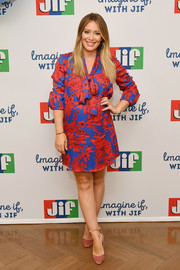 Hilary Duff donned a brightly hued maternity dress for the 'Imagine If, With Jif' contest kickoff.