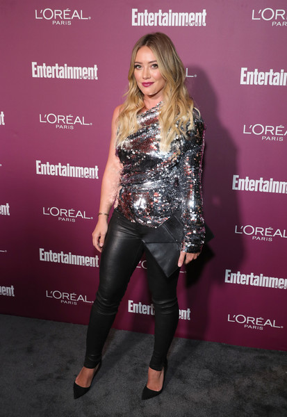 Hilary Duff Embellished Top [red carpet,clothing,fashion,premiere,footwear,carpet,leggings,event,fashion design,performance,leather,hilary duff,sunset tower,west hollywood,california,entertainment weekly,party,entertainment weekly pre-emmy party]