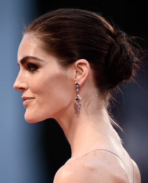 Hilary Rhoda Dangling Gemstone Earrings [hair,face,hairstyle,ear,chin,beauty,eyebrow,chignon,skin,neck,hilary rhoda,sala grande,spotlight,venice,italy,venice film festival,premiere,spotlight premiere - 72nd]