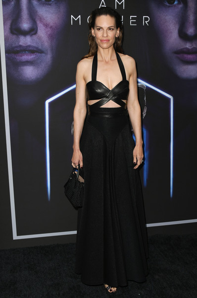 Hilary Swank Halter Top [i am mother,dress,clothing,fashion model,fashion,haute couture,premiere,neck,carpet,little black dress,gown,hilary swank,arclight hollywood,california,la special screening of netflix]