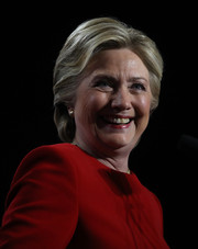 Hillary Clinton opted for a short, neat 'do while campaigning.