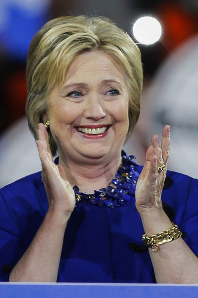 Hillary Clinton Bob [gesture,blond,hand,electric blue,smile,television presenter,finger,hillary clinton,secretary of state,post-super,nyc,states,javits center,democratic,rally,rally]