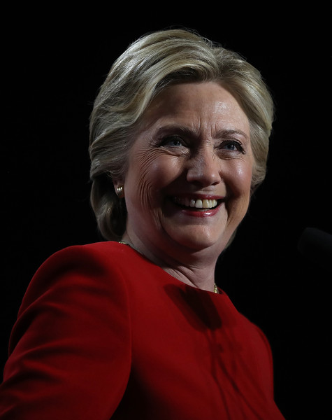Hillary Clinton Short Side Part [face,facial expression,chin,head,smile,portrait,cheek,forehead,human,wrinkle,hillary clinton,us,michigan,allendale,pennsylvania,campaigns,democratic,grand valley state university,election,campaign rally]
