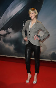 Lauren wore slim fitting leather pants with silver pumps at the 'Hidenburg' premiere.