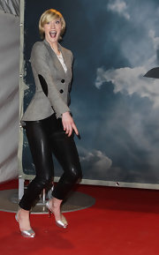 Lauren Lee Smith took a leap at the 'Hindenburg' red carpet premiere in silver platform peep toes.
