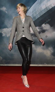 Lauren got silly in her sophisticated blazer with elbow pads at the 'Hindenburg' premiere in Germany.