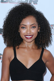 Logan Browning looked fab wearing this afro at the premiere of 'Hit the Floor' season 4.