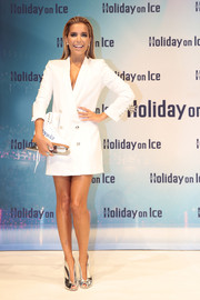 Sylvie Meis looked sharp in a white blazer dress during the Holiday on Ice photocall in Hamburg.