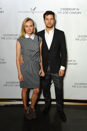 Diane Kruger was casual yet cute at the Q&A with Ann Curry event in a gray Thakoon dress with a white collar and draped detail.