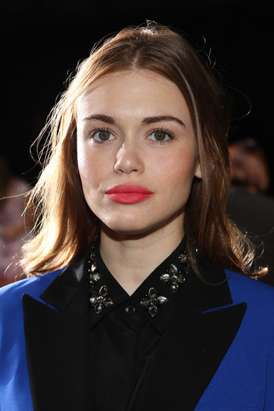 Holland Roden Bright Lipstick [hair,face,eyebrow,lip,hairstyle,blond,chin,beauty,fashion,cheek,dkny womens,holland roden,front row,new york city,mercedes-benz fashion week,fashion show]
