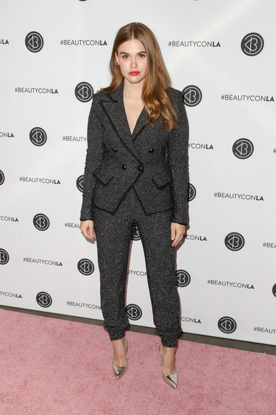 Holland Roden Pantsuit [fashion model,flooring,fashion,suit,catwalk,outerwear,formal wear,pattern,fashion show,design,arrivals,holland roden,beautycon festival la,los angeles convention center,california]