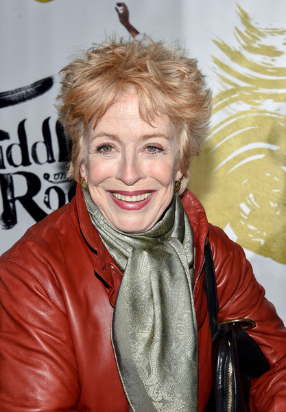 Holland Taylor Messy Cut [fiddler on the roof,hair,hairstyle,blond,leather,leather jacket,jacket,textile,outerwear,smile,surfer hair,broadway opening night - arrivals,holland taylor,curtain call,new york city,broadway theatre,broadway]