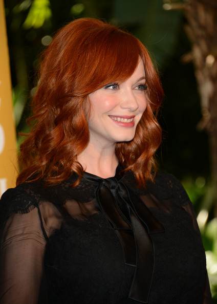 More Pics of Christina Hendricks Medium Curls with Bangs (1 of 11) - Medium Curls with Bangs Lookbook - StyleBistro