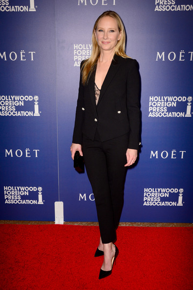 Anne Heche looked sharp in a black pantsuit at the Hollywood Foreign Press Association's Grants Banquet.