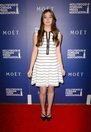 Hailee Steinfeld kept it casual and youthful in a black-and-white striped A.L.C. dress at the Hollywood Foreign Press Association's Grants Banquet.