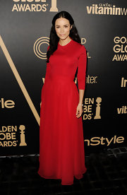 Abigail looked vivacious and elegant all at once in this rich crimson design at the Golden Globe award season celebration.