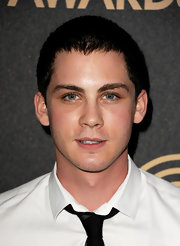 Logan Lerman looked fresh and neat with this buzzcut during HFPA and InStyle's celebration of the 2013 Golden Globe Awards Season.