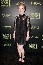 Karine Vanasse kept it classic and demure with this little black lace dress at the Golden Globe Award season celebration.