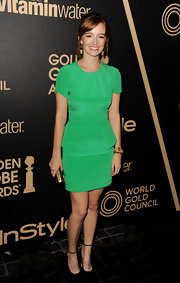 Ahna brightened up the red carpet of the Golden Globe award season celebration in this silk green dress.