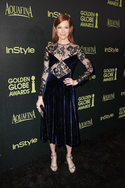 Darby Stanchfield finished off her ensemble with a glittery pair of Kurt Geiger ankle-strap sandals.