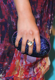 Shay Mitchell added some major sparkle to her printed frock with a colossal cocktail ring.