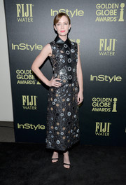 Emily Blunt went for a sequined look in her Marc Jacobs dress that had a black collar and shimmering ornate details.